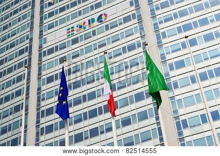 MILAN, ITALY, FEBRUARY 12 2015: Pirelli skyscraper promotion for expo 2015