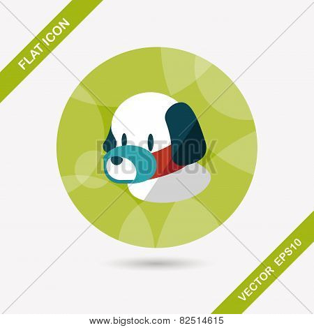 Pet Dog Mouth Cover Flat Icon With Long Shadow,eps10
