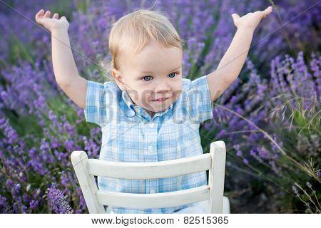 Happy Baby Boy In Lavender Summer