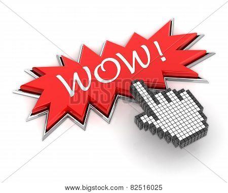 Hand clicking a starburst wow button
