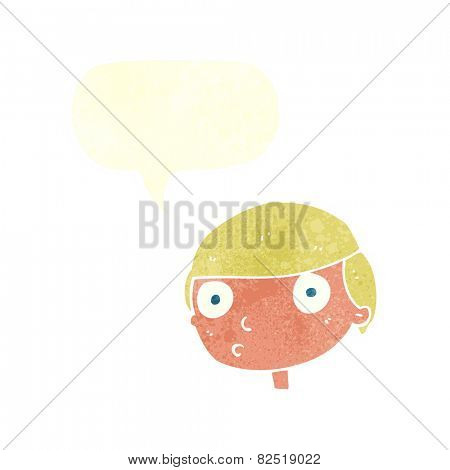 cartoon boy staring with speech bubble