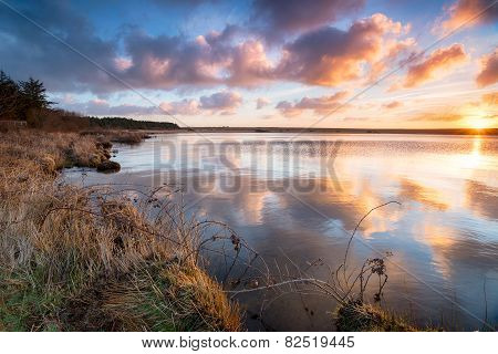 Beautiful Sunrise Over Water