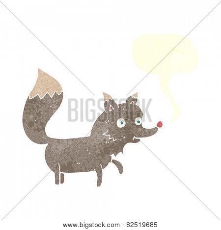 cartoon wolf cub with speech bubble