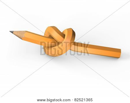 Orange pencil tied in a knot on a white background