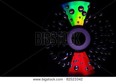 Drops of water on a CD or DVD