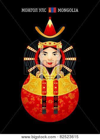Matryoshkas of the World: Mongolian girl in wedding dress. Near a flag is an official country name written in English and Mongolian.