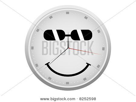 Abstract detailed clock with a smiley face