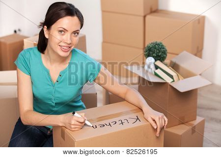 Writing On A Carton Box.