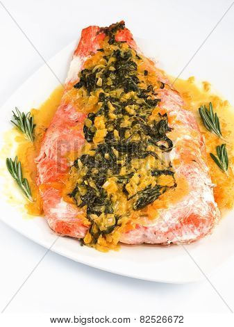 Salmon With Sauce Of Saffron, Onion And Rosemary