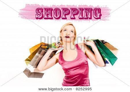 Joven bonita a mujer de compra con un montón de bolsas. Diseño creativo