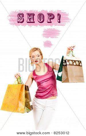 Young Pretty Shopping Woman With Lots Of Bags Thinking. Creative Design