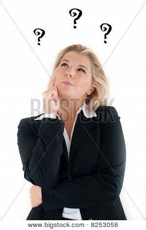 pretty business woman having questions and ideas