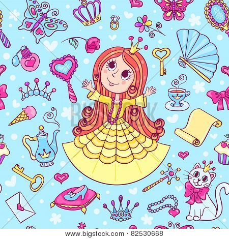 Seamless Pattern With Cute Little Princess In The Yellow