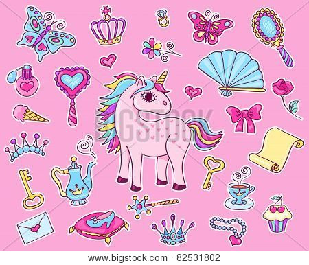 Cute Princess Sticker Set With Unicorn