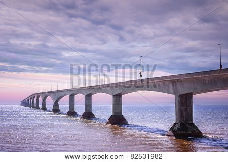 Sunset at Confederation Bridge from Borden-Carleton, Prince Edward Island, Canada