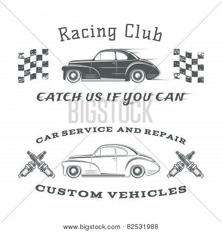 Set of two vintage, classic car labels, racing club and garage
