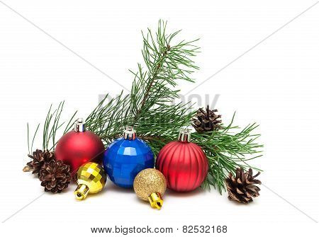 Christmas Toys, Pine Cones And Pine Branches On A White Background.