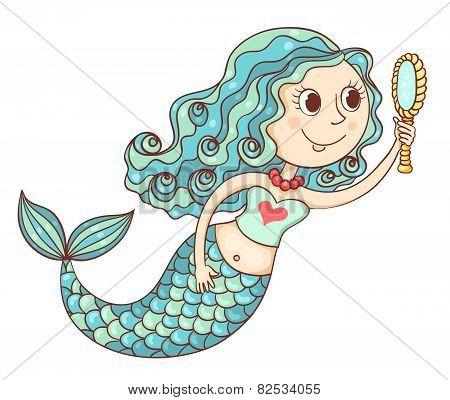 Cute Mermaid With Mirror