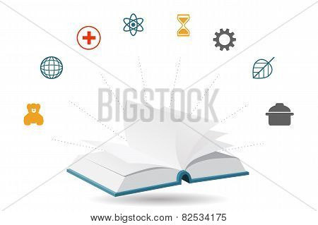 Knowledge Encyclopedia Book, Vector Illustration