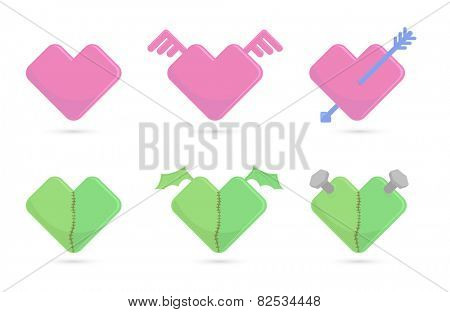Vector illustration of blue and green hearts for St. Valentines day