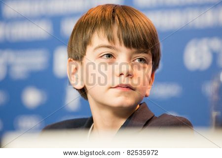 BERLIN, GERMANY - FEBRUARY 08: British actor Milo Parker, 'Mr. Holmes' press conference. 65th Berlinale International Film Festival at Grand Hyatt Hotel on February 8, 2015 in Berlin, Germany.