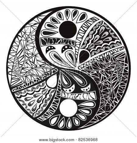 Yin Yang  Tattoo For Design Symbol Vector Illustration