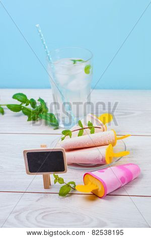 Fruit ice cream and cold juice with ice