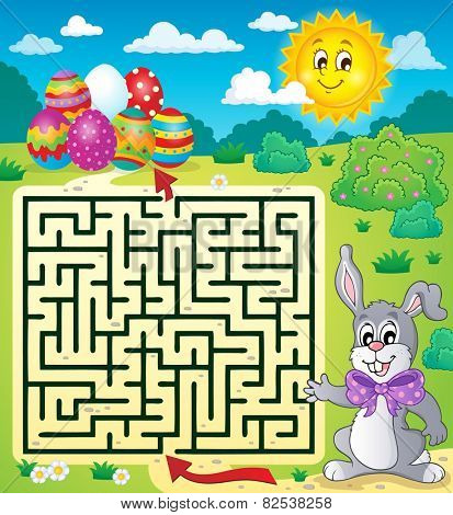 Maze 3 with Easter theme - eps10 vector illustration.