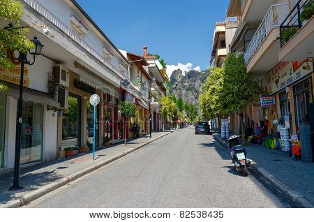 Greece, Meteors, Narrow Street In The Settlement Kalambaka