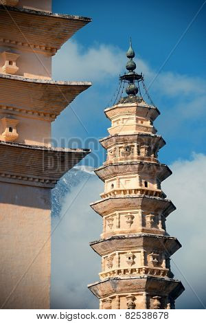 Ancient pagoda closeup in Dali old town, Yunnan, China.