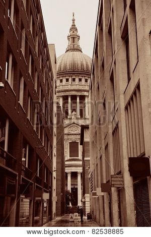 St Pauls Cathedral closeup with street view in London.