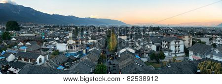 Dali old town rooftop view at sunset. Yunnan, China.