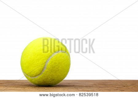 Single Tennis Ball Table Wood Isolated