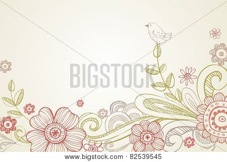 Vector background with garland of flowers, leaves. Stylized garden with branches of blooming tree