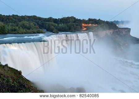 The American Falls from Niagara Falls closeup at dusk after sunset