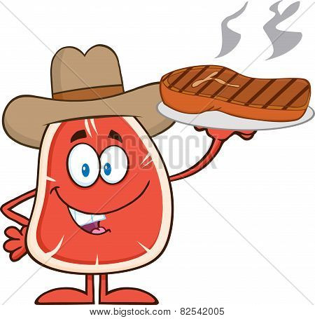 Cowboy Steak Cartoon Mascot Character Holding Up A Platter With Grilled Steak