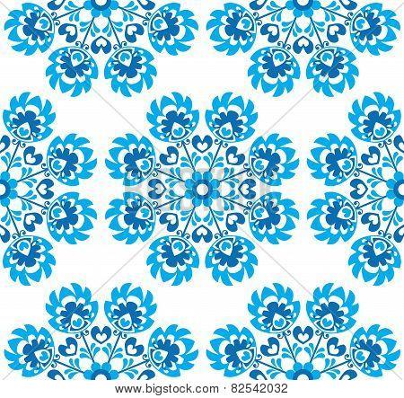 Seamless blue floral Polish folk art pattern - wzory lowickie, wycinanki