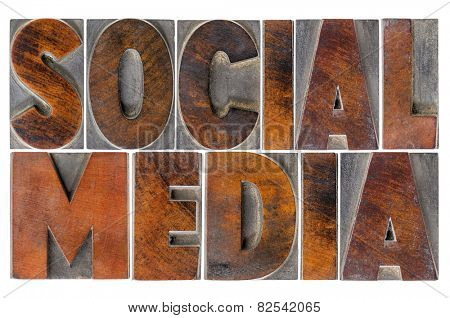 social media - isolated text in antique wood letterpress printing blocks with ink patina