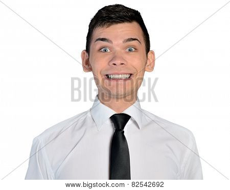 Isolated business man big smile
