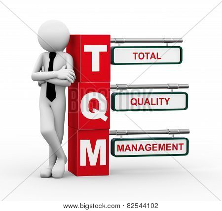 3D Businessman With Tqm Signpost Illustration