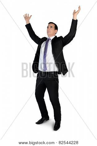 Isolated business man arms up