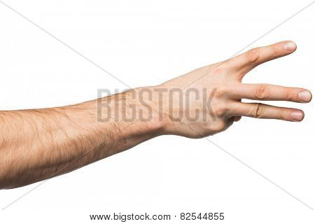 Counting gesture, male hand showing three fingers, isolated on white background