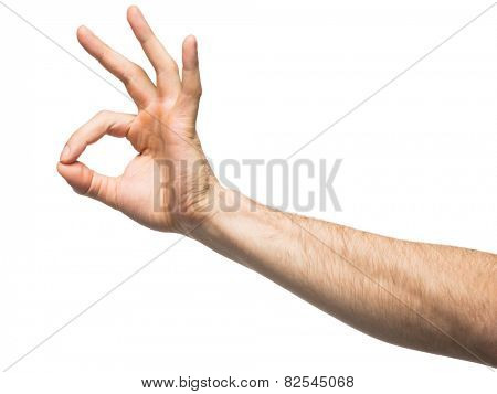 Closeup of male hand gesturing sign ok (okay). Isolated on white background