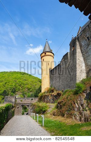 Walls and towers of beautiful Vianden castle