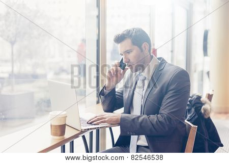 Businessman having a coffee break