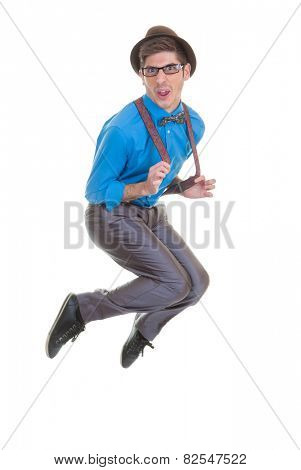 funny geek  business man jumping