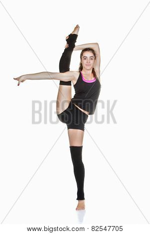 flexible teen ballet dancer stretching exercise