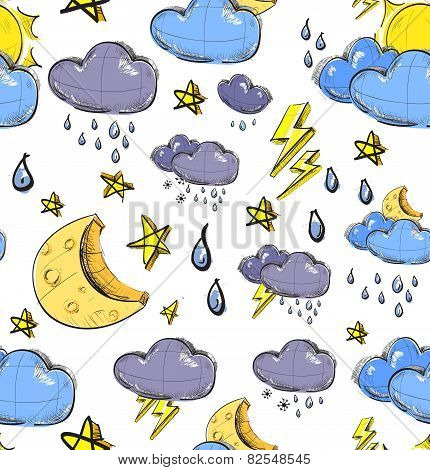 Weather seamless colorful pattern