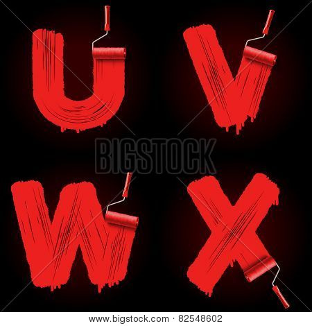 Red roller brush alphabet font