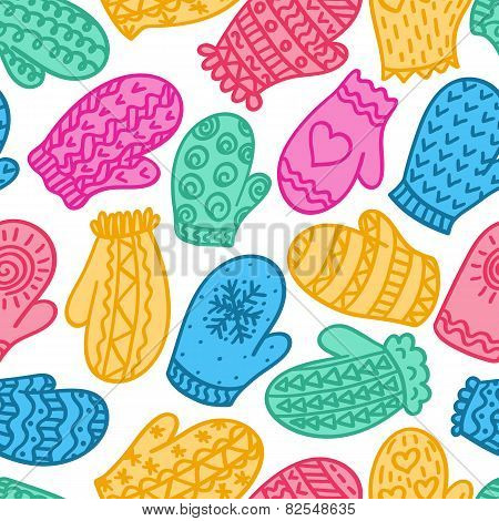 Seamless Pattern With Colour Mittens